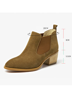Women Winter Chunky Heel Ankle Leather Boots