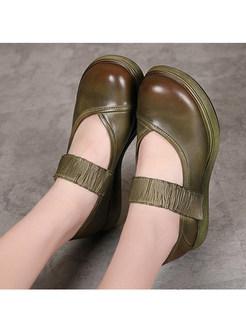 Retro Round Toe Platform Casual Daily Shoes