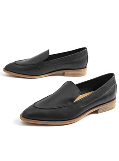 Vintage Flat Heel Pointed Toe Daily Loafers