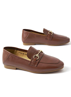 Casual Women Daily Buckle Comfortable Flat Loafers