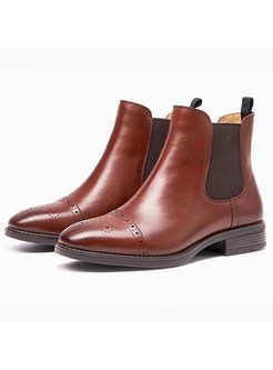 Retro Brown Genuine Leather Ankle Boots