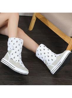 White Penguin Print Platform Warm Snow Boots