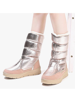 Chic Women Winter Color-blocked Wedge Heel Snow Boots