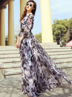 Three Quarters Sleeve Print Chiffon Maxi Dress