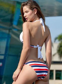 Sexy Color-blocked Halter Tied Bikini