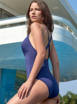 Solid Color Pleated One Piece Swimwear
