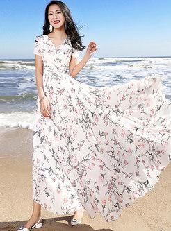 Stylish Chiffon Print Big Hem Vacation Dress