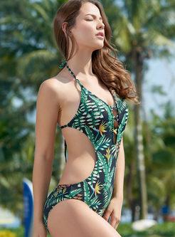 V-neck Halter Tied Print Swimwear