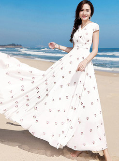 White Embroidered Falbala Beach Maxi Dress