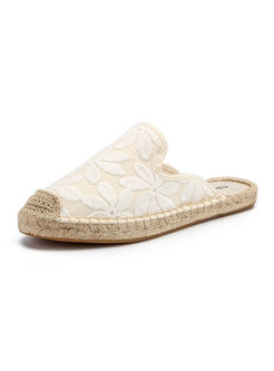 Lace Up Linen Straw Fisherman Slippers