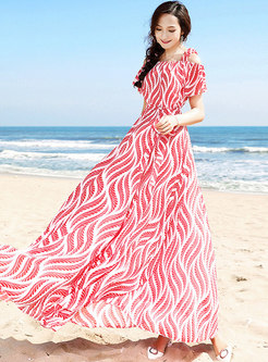 Casual Beach Backless Square Neck Print Maxi Dress
