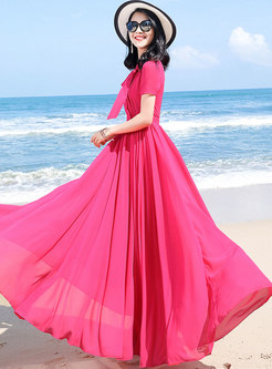 Rose Tied-collar Gathered Waist Beach Dress