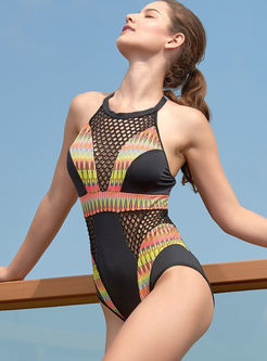 Color-blocked O-neck Hollow Out Swimwear
