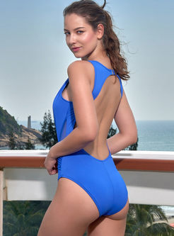 Sexy Sleeveless Pleated One Piece Swimwear