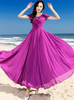 Solid Color Short Sleeve Falbala Chiffon Dress