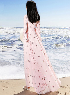 Embroidered Floral Flare Sleeve Slim Maxi Dress