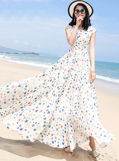 V-neck Short Sleeve Chiffon Casual Dress