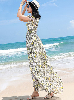 Multicolor Print Gathered Waist V-neck Maxi Dress