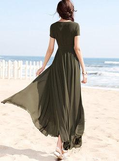 Solid Color V-neck Pleated Hem Maxi Dress