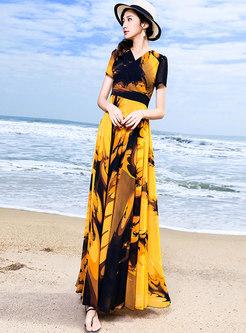 Trendy Vintage Color-blocked High Waist Maxi Dress