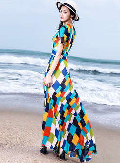 Fashion Color-bolcked Short Sleeve Beach Maxi Dress