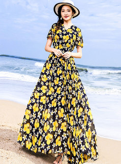 Elegant Vintage V-neck Print Maxi Dress
