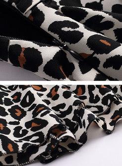 Sexy Leopard Print Sleeveless Chiffon Dress