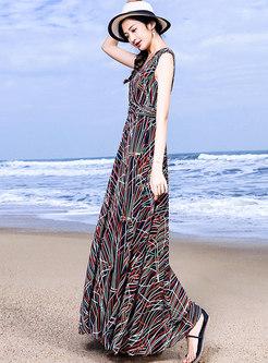 Fashion Bohemia Multicolor Hem Maxi Dress