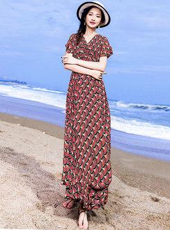 Stylish Beach Print V-neck Slim Maxi Dress