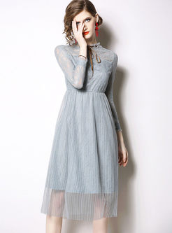 Sweet Perspective Bowknot Mesh Lace Dress