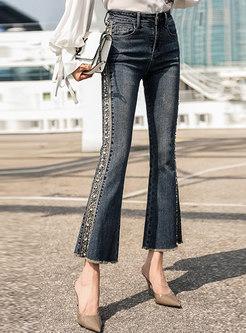 Denim Elastic Embroidered Slim Flare Pants