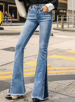 Stylish Color-blocked Rough Selvedge Flare Pants