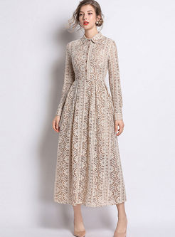 Long Sleeve Openwork Lace Maxi Dress