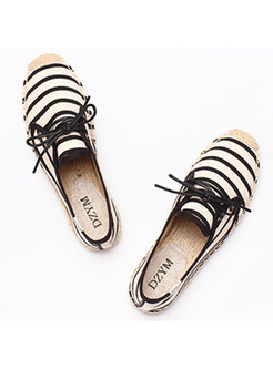 Casual Canvas Striped Lace Up Flat Shoes