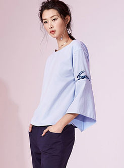 Brief Striped Flare Sleeve T-shirt