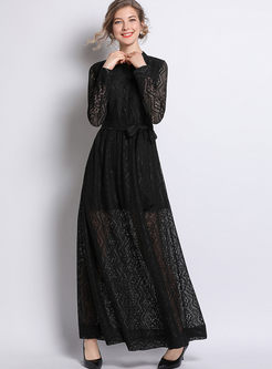Standing Collar Long Sleeve Lace Maxi Dress