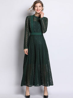 Retro O-neck Perspective Lace Maxi Dress