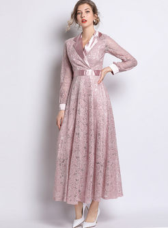 Stylish Lapel Long Sleeve Waist Big Hem Dress