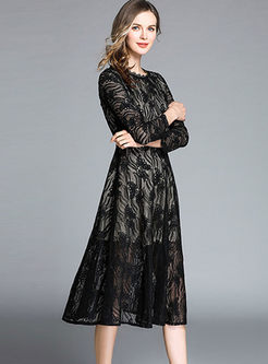 O-neck Perspective Lace Slim A Line Dress