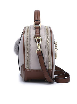 Stylish Color-blocked PU Zipper Crossbody Bag