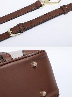 Stylish Color-blocked PU Zipper Crossbody Bag