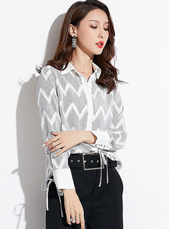 Elegant Chiffon Print Lapel Single-breasted Blouse