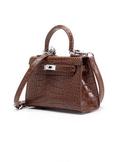 Genuine Leather Clasp Lock Top Handle & Crossbody Bag