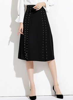 Black High Waist Drilling A Line Skirt