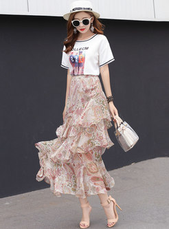 Stylish Floral High Waist Layered Skirt