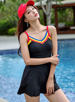 V-neck Color-blocked One Piece Swimwear