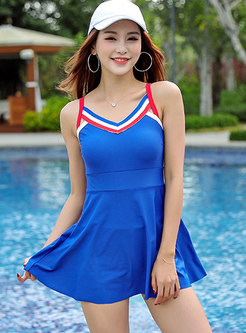 Blue Color-blocked Backless One Piece Swimwear