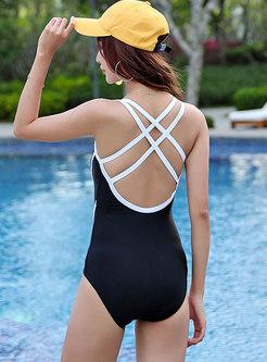 Stylish Black V-neck One Piece Swimwear