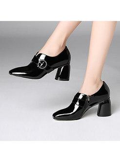 Trendy Black Square Toe Patent Leather Shoes