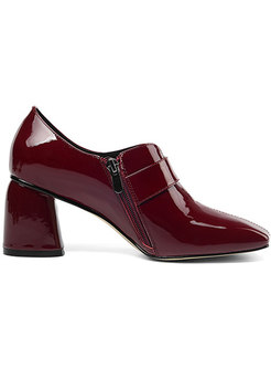 Brief Zippered Square Toe Chunky Heel Shoes